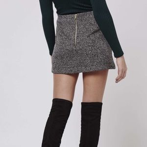 TopshopGray Petite Herringbone Jersey A-line Skirt